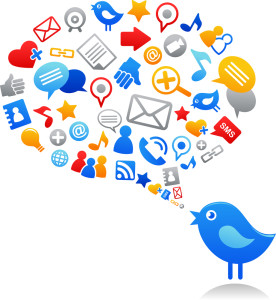 Blue bird with social media icons